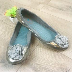 LINDSAY PHILLIPS Pewter Liz Ballet Quilted Leather